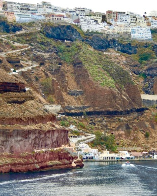 Looking up at Fira from the caldera at Old Port