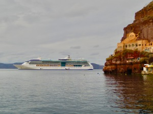 Cruise ship anchored off Old Port of Santorini