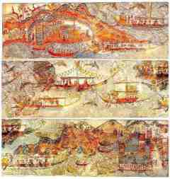 Minoan frescos of boating scenes from ruins at Akratiri