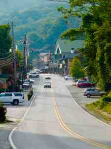 Looking up the main street of the small tourist town of Chimney Rock