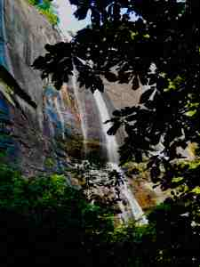 looking up at Hickory Nut Falls