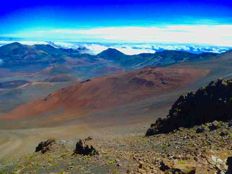 The view across the caldera