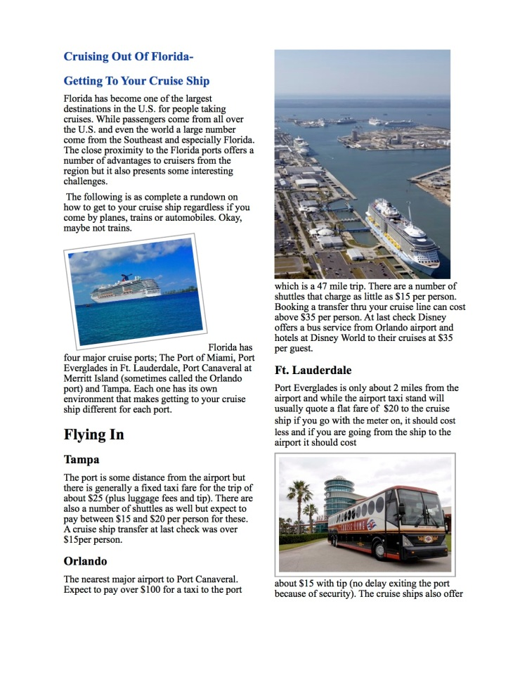 Information on Florida's major cruise ship ports.