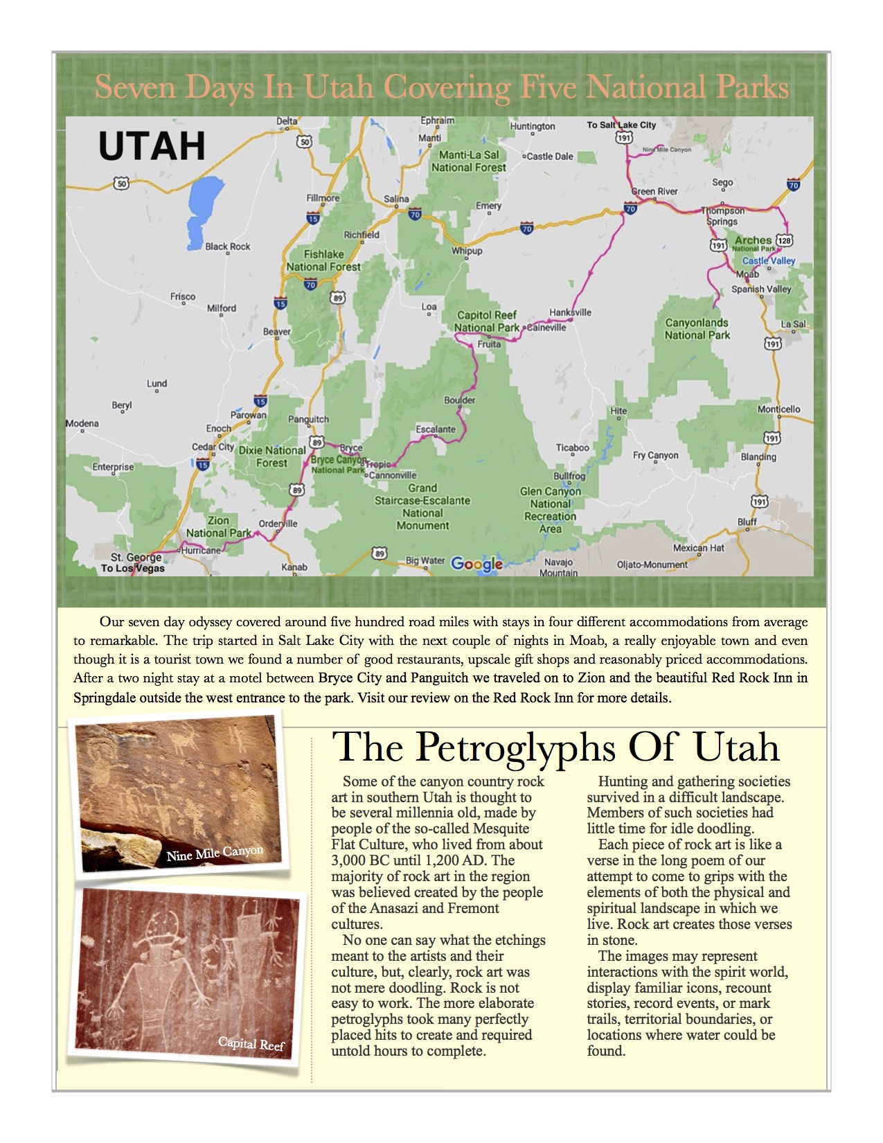 A map of Utah showing a park itinerary. Pictures of petroglyphs