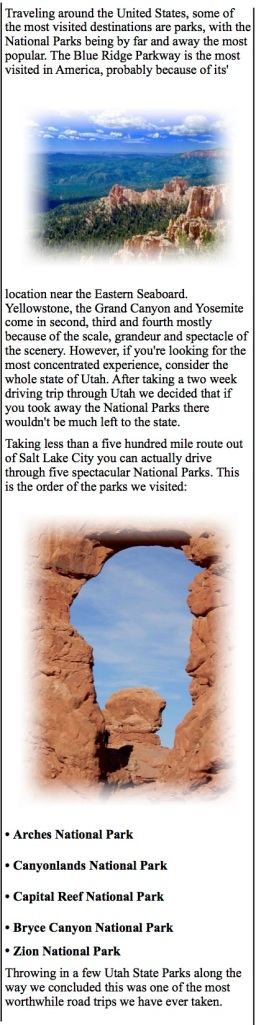 Seeing the National Parks of Utah. Arches, Zion, Bryce Canyon
