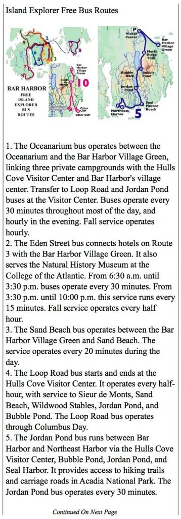 Island Explorer route maps for Bar Harbor