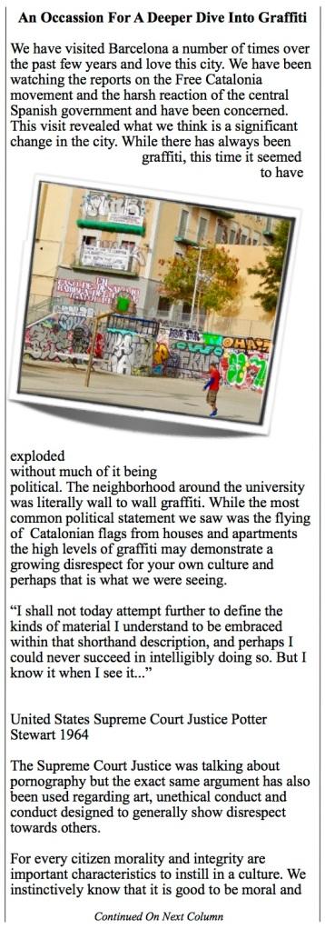 Graffiti spreads around Barcelona.