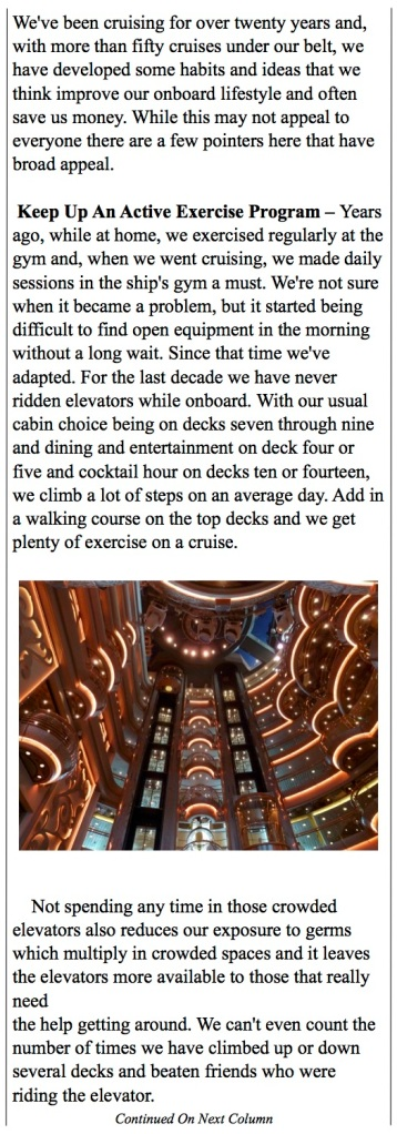 Ideas for staying in shape while on your cruise.