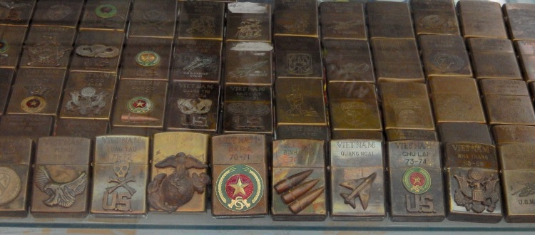 military Zippo lighters from war in Vietnam