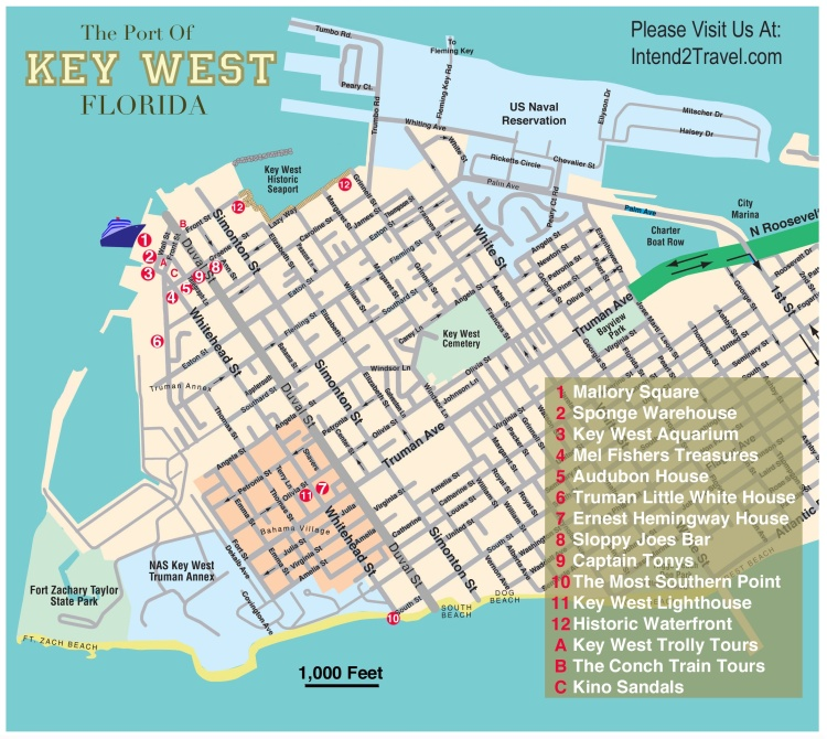 Visitors map of Key West Florida.