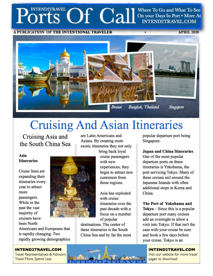 Information on popular cruise itineraries in Asia, from Singapore to Hong Kong, Japan, Thailand, Vietnam and more. Best ports, popular city destinations and what to look for.