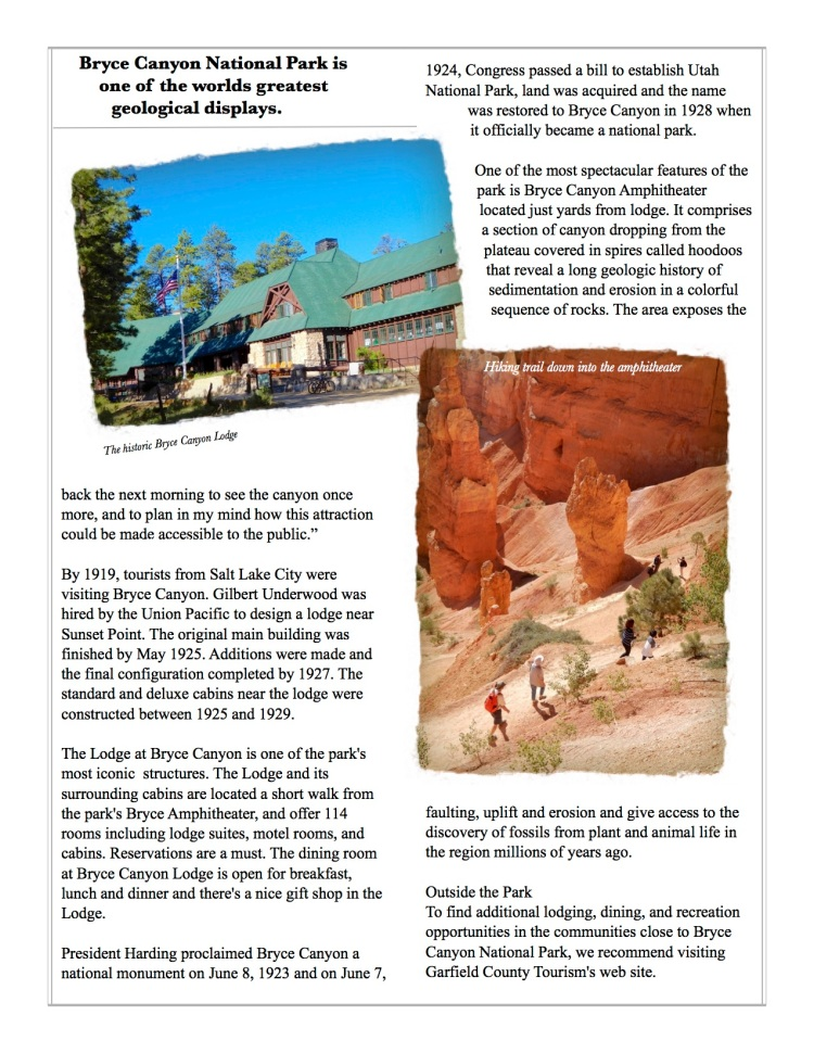 Bryce Canyon Lodge and hiking trails into the hoodoos of the canyon.