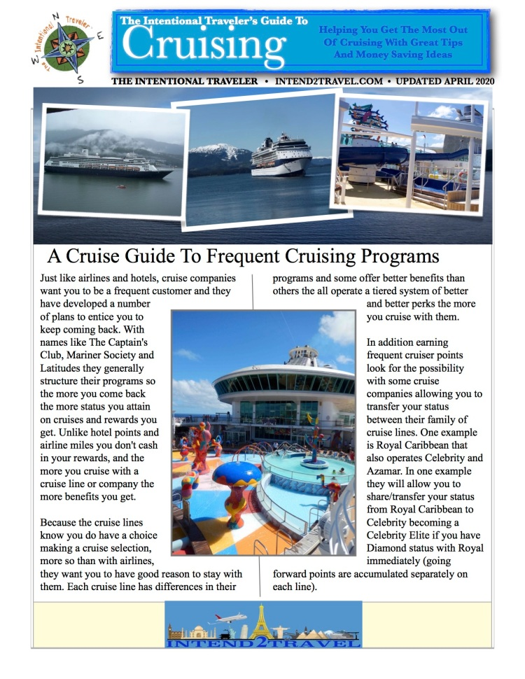 Reasons for joining frequent cruising programs.