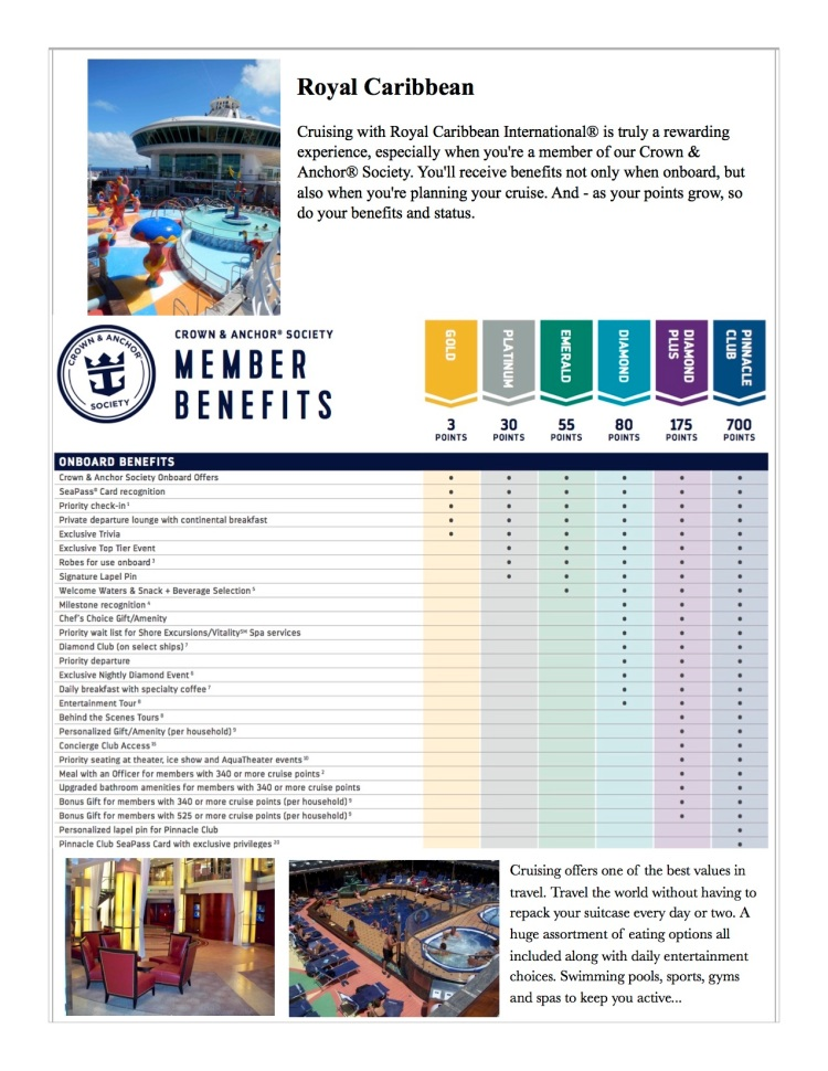 Royal Caribbean frequent cruising programs.