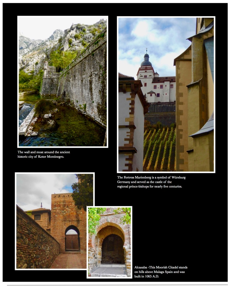 Castles featured from Kotor, Wurzburg and Malaga Spain