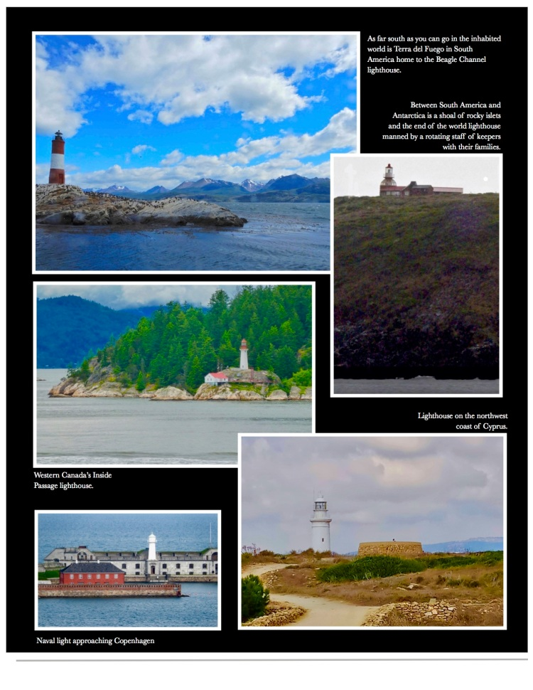 photographs of lighthouses in New Zealand, Antarctica, the Caribbean and more.
