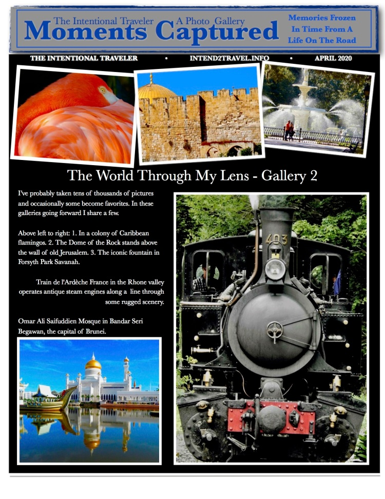 images from the road including flamingo, french steam engine, dome of the rock, Forsyth fountain