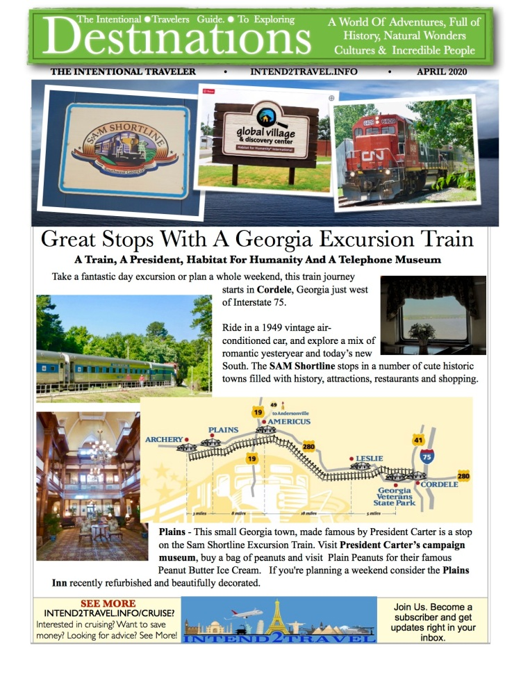 Take a fantastic day excursion or plan a whole weekend, this train journey starts in Cordele, Georgia just west of Interstate 75. Ride in a 1949 vintage air-conditioned, and explore a mix of romantic yesteryear and today's new South. The SAM Shortline stops in a number of cute historic towns filled with history, attractions, restaurants and shopping.