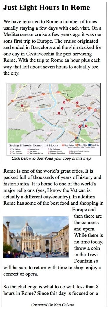 The eight hour tour to the sights of Rome.