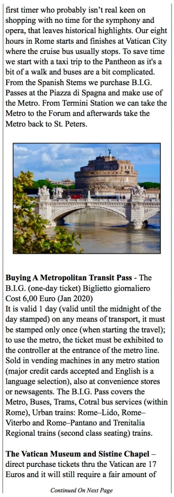The eight hour tour to the sights of Rome with the Metro