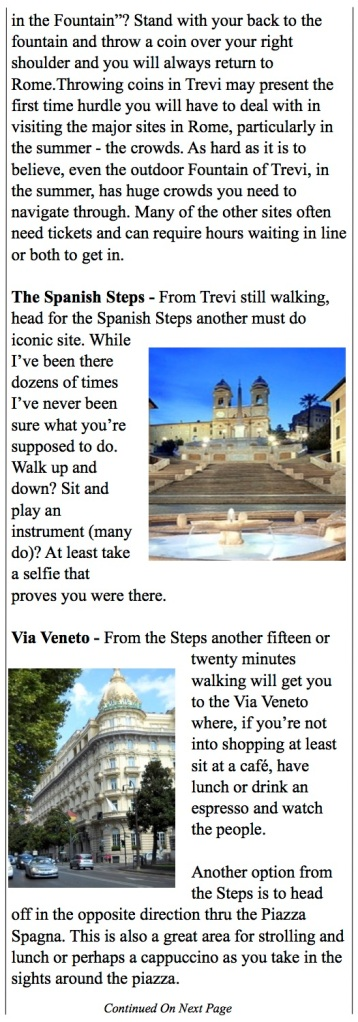 Seeing Rome - Spanish Steps, Via Veneto
