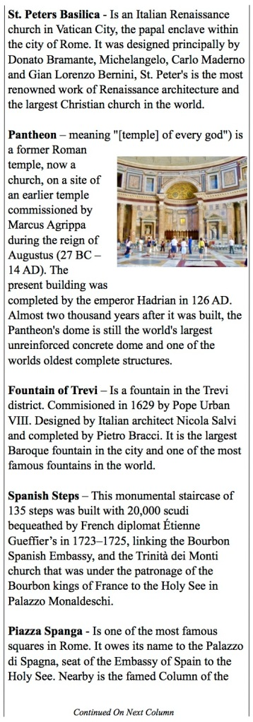 Seeing Rome - Pantheon, Trevi Fountain, Spanish Steps, Via Veneto