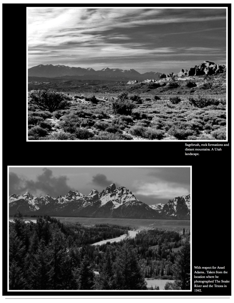 Black and white gallery of western U.S. landscapes.