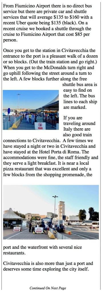 train station in Civitavecchia to the port shuttles