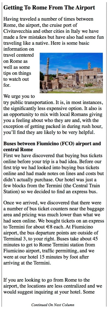 buses from Fiumicino Airport to central Rome