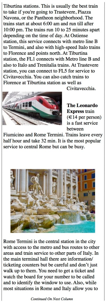 The Leonardo Express, Rome from airport to central Rome