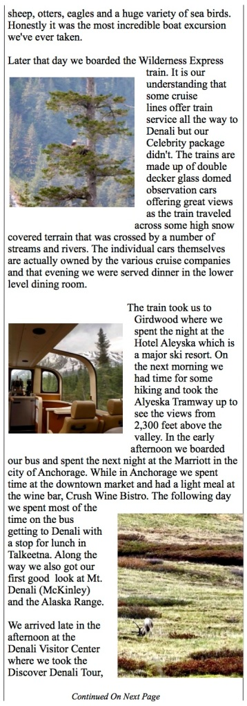 The Wilderness Express from Seward to Denali.