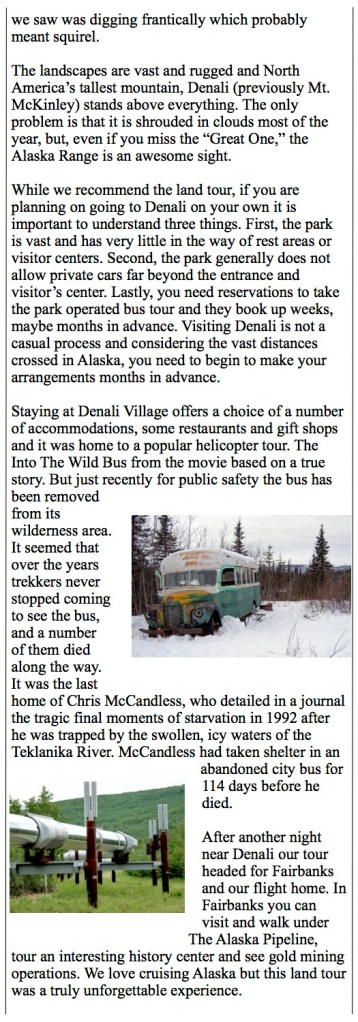 Into The Wild bus outside Denali Village. The oil pipeline.