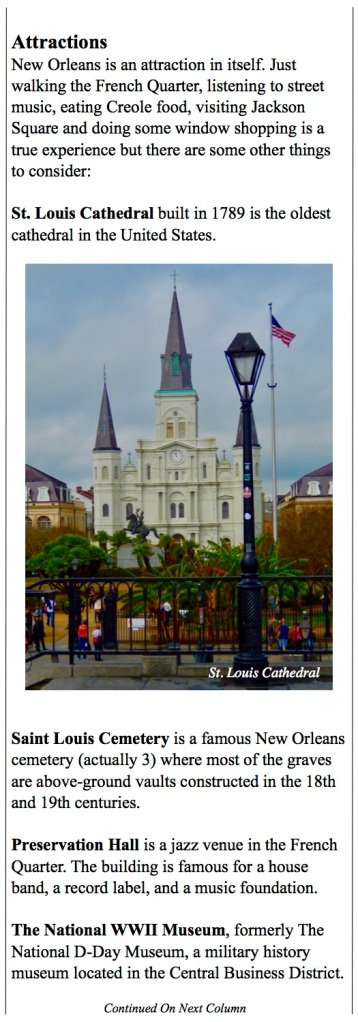 The port of New Orleans at a glance. The cities attractions and what to do.
