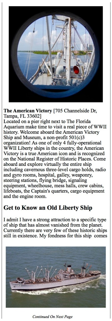 Tampa - St Pete,  Florida Aquarium, Liberty ship, American Victory