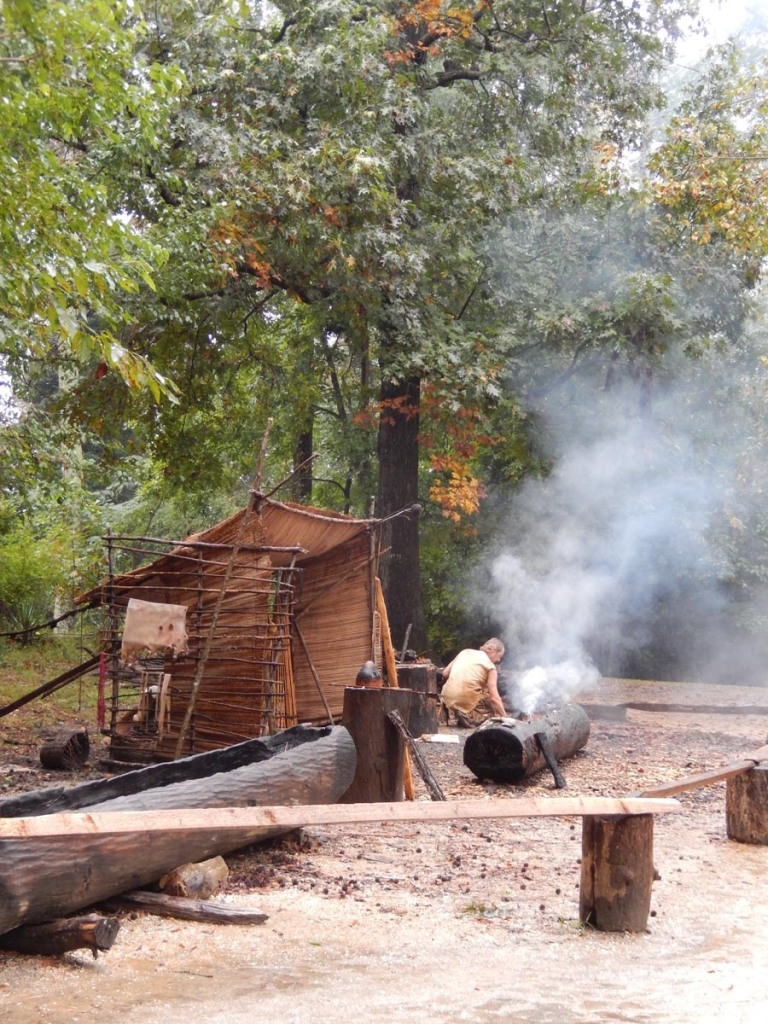 Powhatan Indian makes canoes